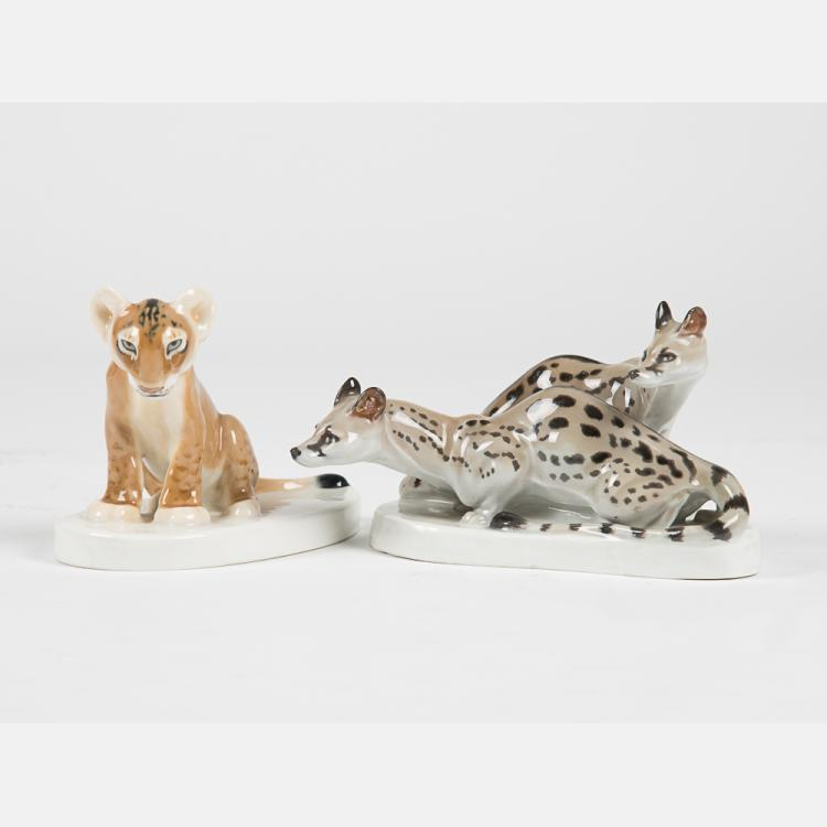 Two Meissen Porcelain Animal Figurines, 20th Century,