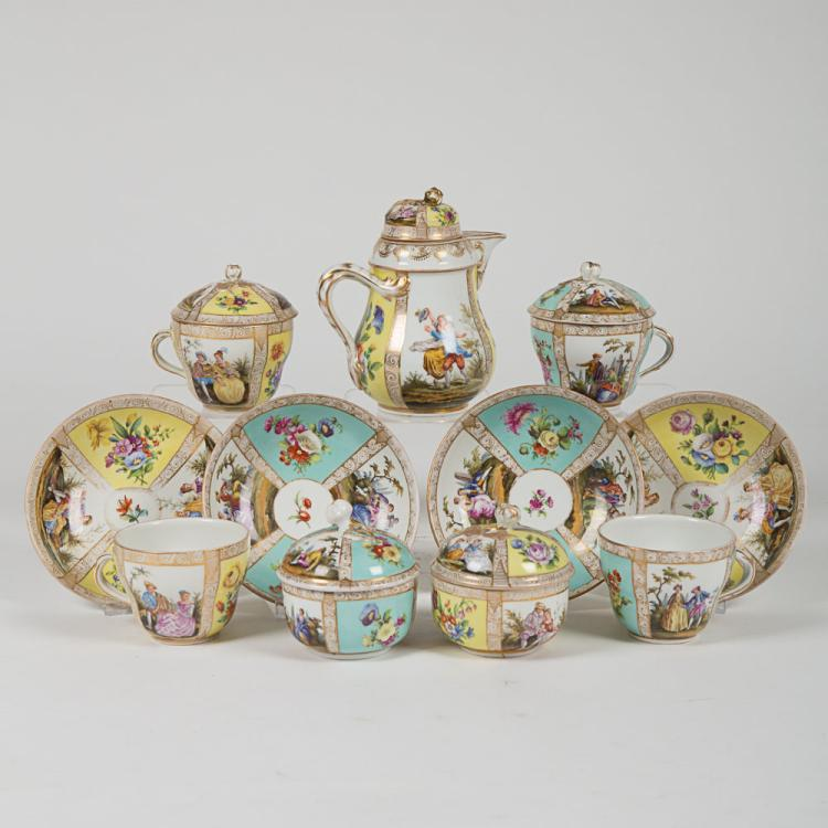 A Partial Meissen Porcelain Coffee Service, 19th/20th Century,