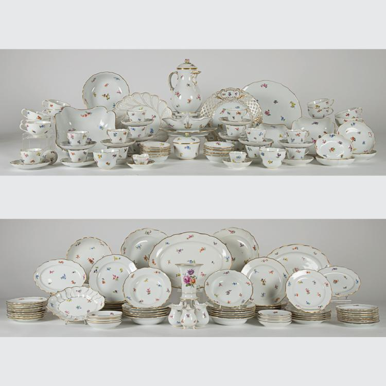 A Large Meissen Porcelain Dinner Service in the Scattered Flower Pattern,