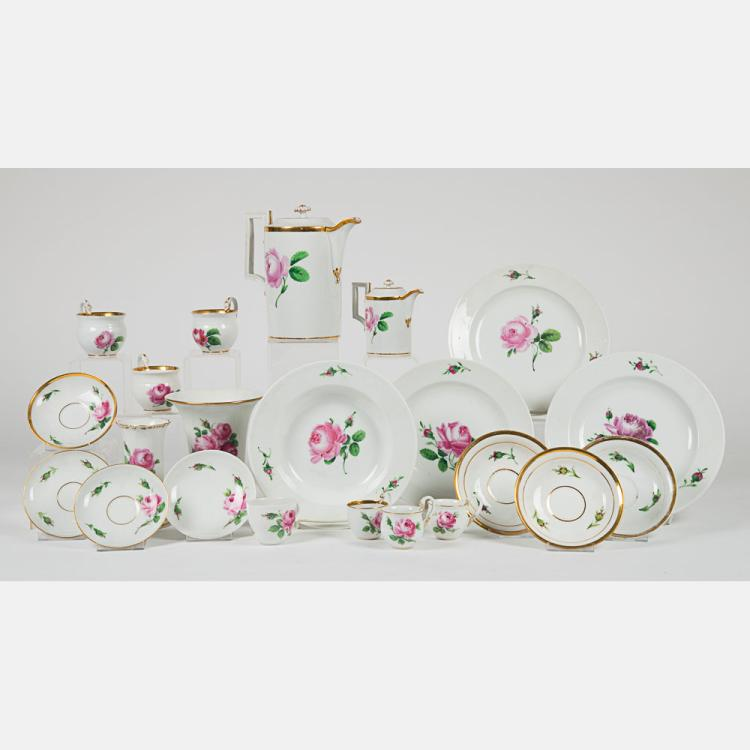 A Partial Meissen Porcelain Service in the Roses (Pink) Pattern, 20th Century,