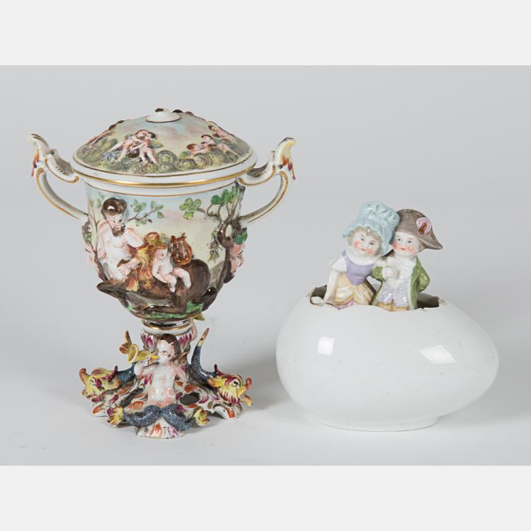 A Capo di Monte Lidded Goblet, 19th Century,