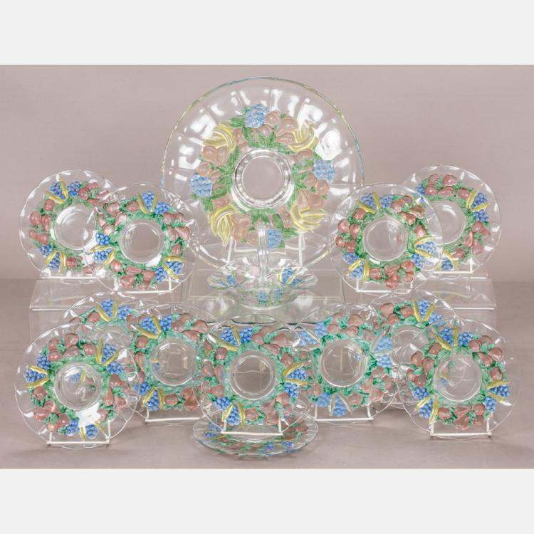 A Pressed Painted Glass Dessert Set, 20th Century,