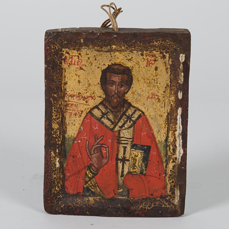 A Greek Painted Icon Depicting a Saint, 18th/19th Century.