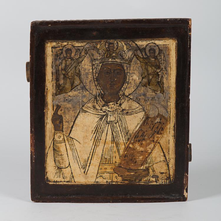 A Greek Painted Icon Depicting a Saint, 19th Century.