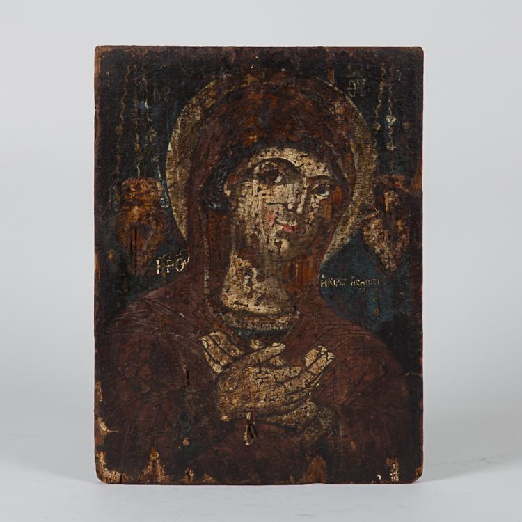 A Greek Painted Icon Depicting the Virgin Mary, 18th/19th Century.