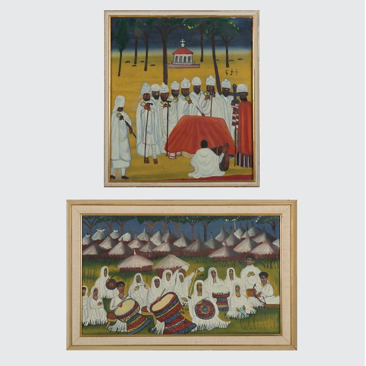 Two Ethiopian Religious Oil Paintings on Canvas, 20th Century.