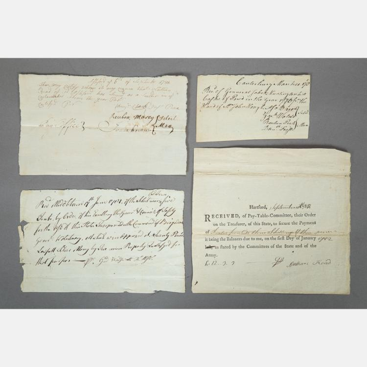 A Group of Four Revolutionary War Pay Stubs, 18th Century,