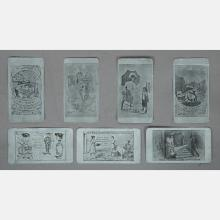 A Collection of Seven Aluminum Cards with Naughty Cartoons and Illustrations, Late 19th/Early 20th Century,