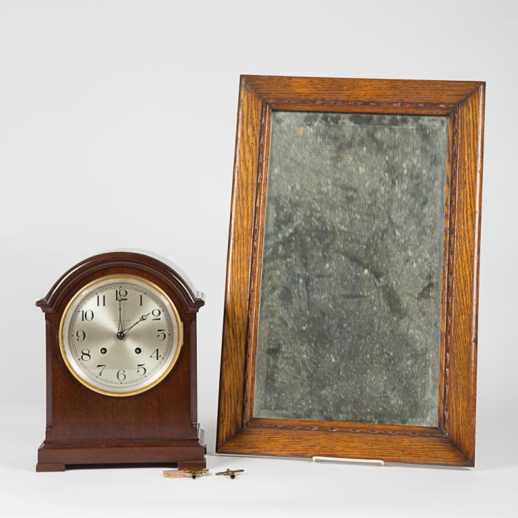 A J.E. Caldwell and Co. Walnut Mantle Clock, 20th Century,