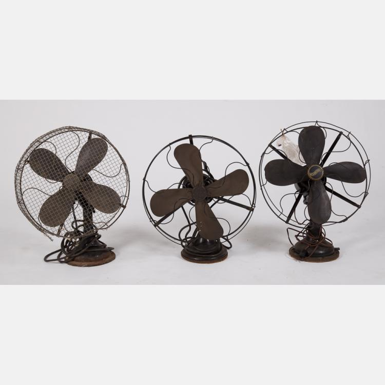 A Group of Three Vintage Wire Fans, 20th Century,