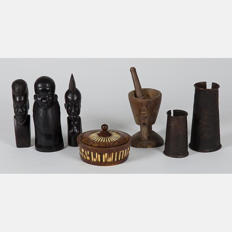 A Collection of African Carved Hardwood and Brass Decorative Items, 20th Century.