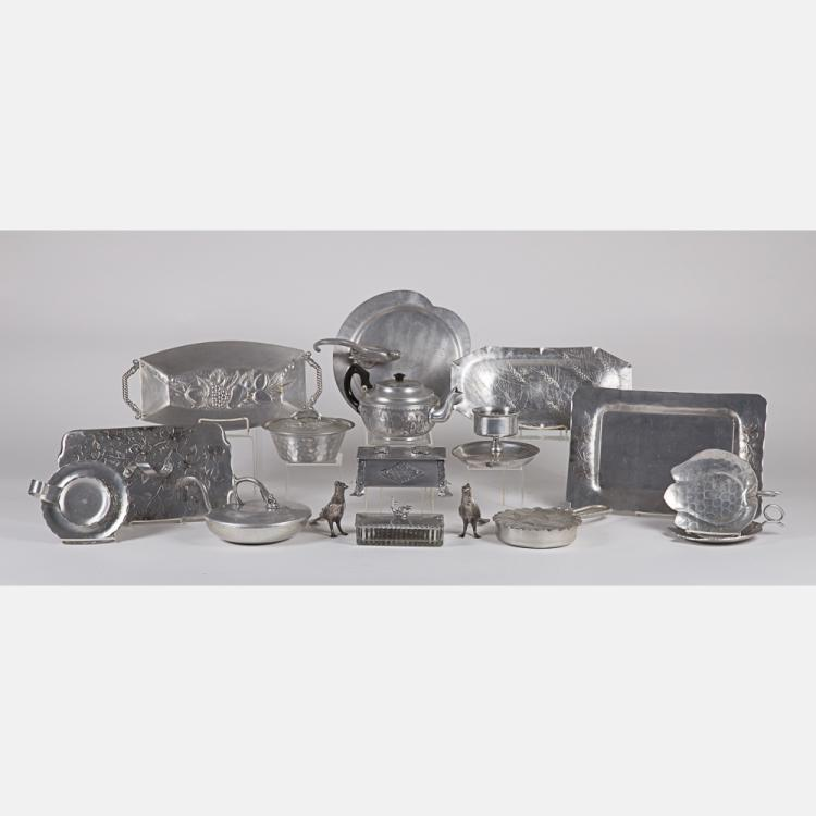 A Miscellaneous Collection of Hammered Pewter and Aluminum Ware by Various Makers, 20th Century,