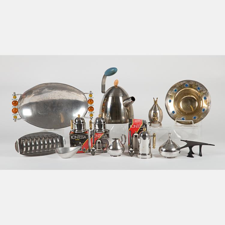A Miscellaneous Collection of Pewter and Silverplated Serving Items by Various Makers, 20th Century,