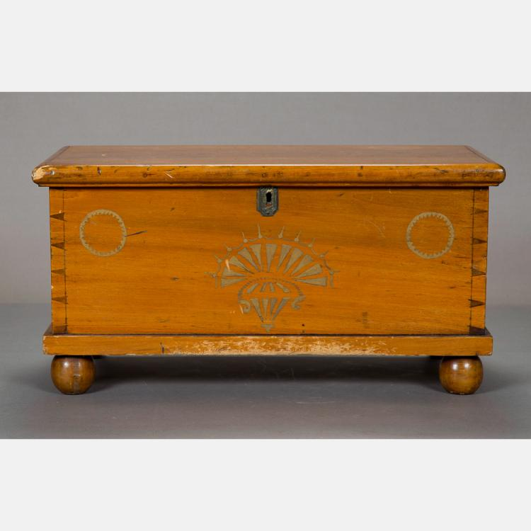 An American Diminutive Pine Blanket Chest, 19th Century,