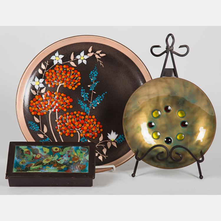 Two Enameled Plates and Box, 20th Century,