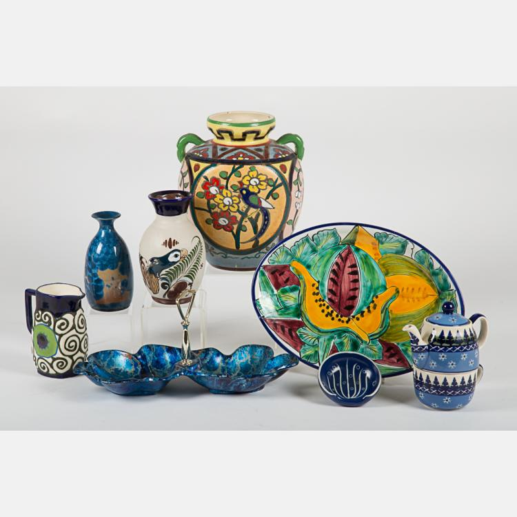 A Miscellaneous Collection of Ceramic Decorative and Serving Items by Various Makers, 20th Century,