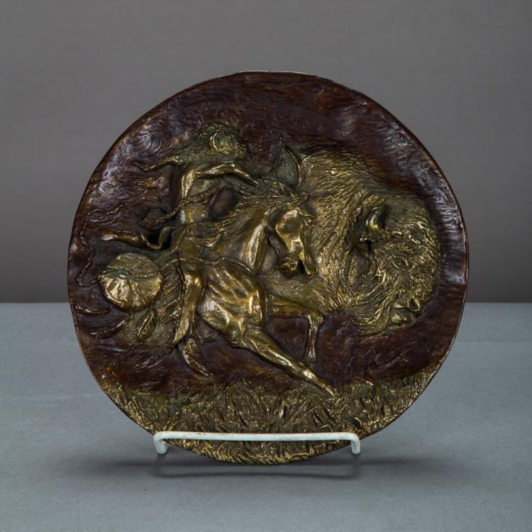 Gregory Perillo (American, b. 1929) Buffalo Hunt, Bronze relief plaque,