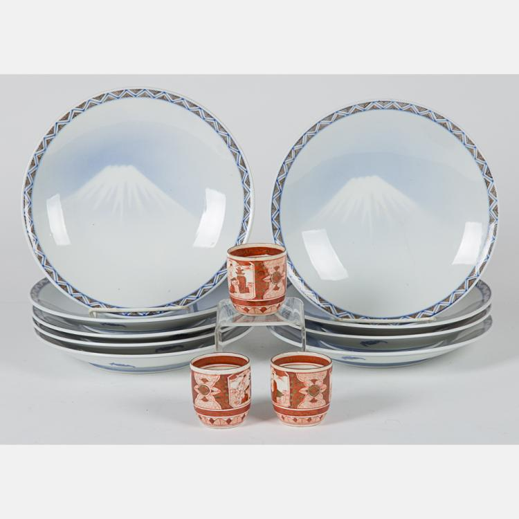 A Set of Eight Japanese Porcelain Mount Fuji Plates, 20th Century,