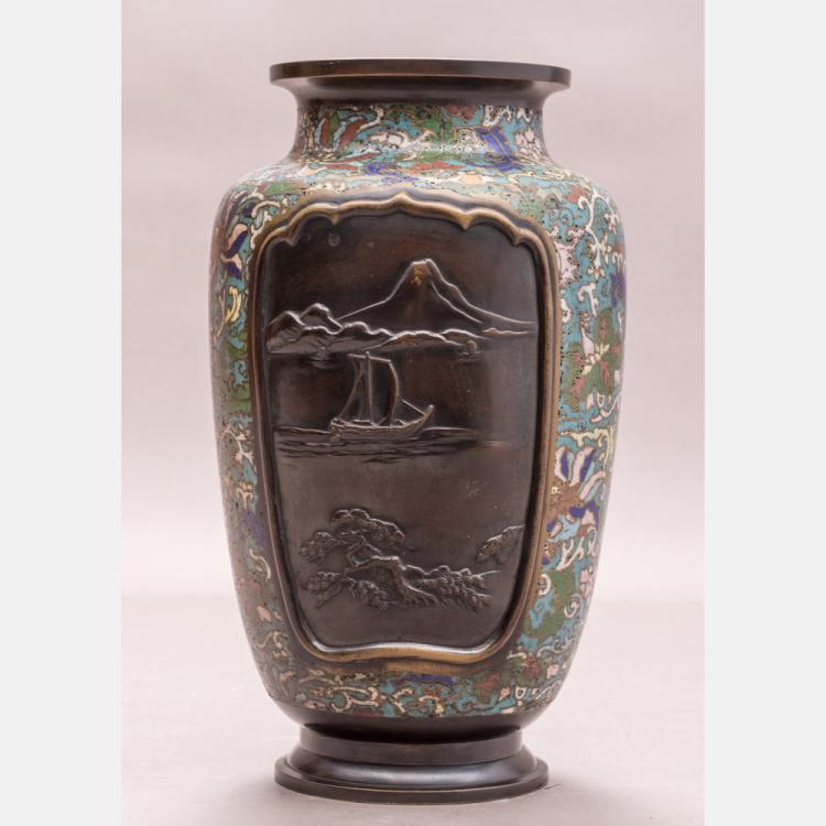 A Japanese Bronze and Cloisonné Vase, 20th Century.