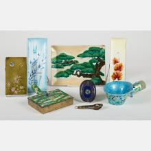 A Group of Japanese Cloisonné Dishes and Plaques by Various Makers, 20th Century,