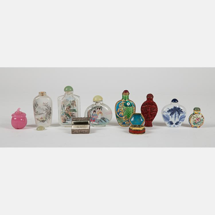 A Miscellaneous Collection of Chinese Porcelain and Glass Snuff Bottles, 20th Century.