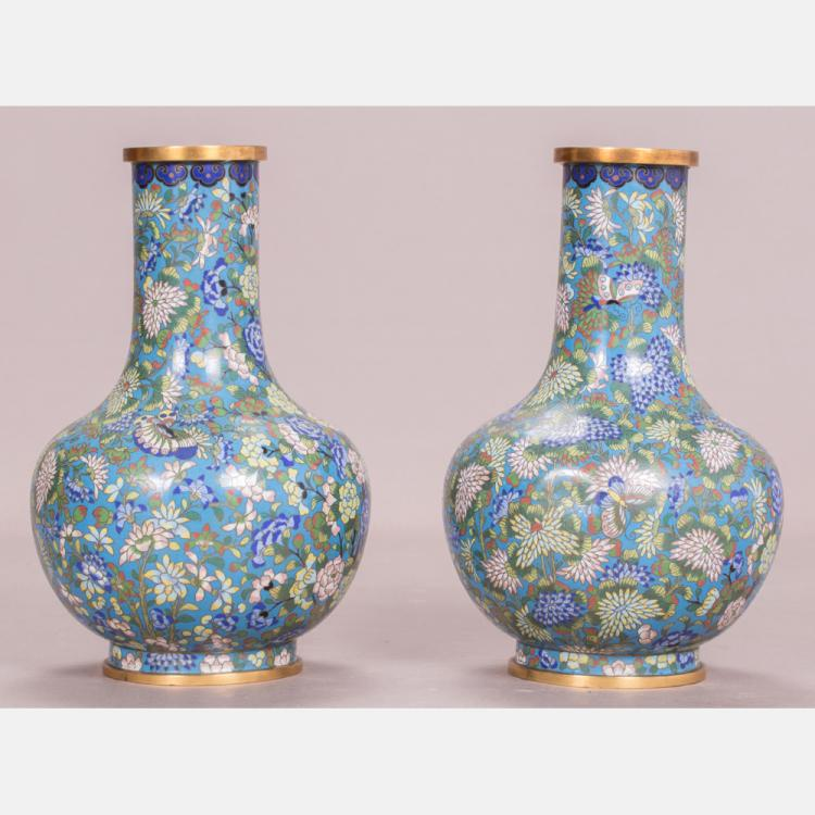 A Pair of Chinese Cloisonné Vases, 20th Century.