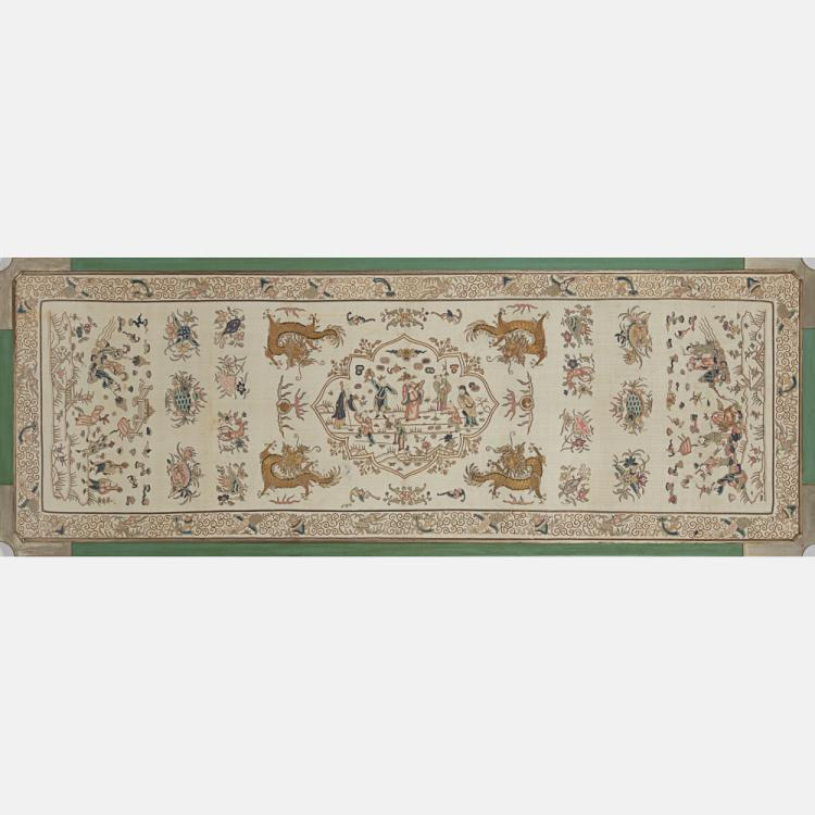 A Chinese Embroidered Silk Panel, 19th Century,