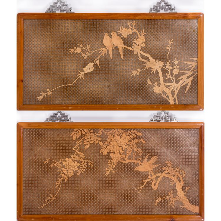 A Pair of Asian Pale Wood Latticework Plaques, 20th Century.