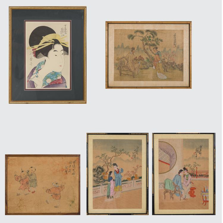A Group of Five Framed Asian Paintings and Woodcut by Various Artists, 19th/20th Century.