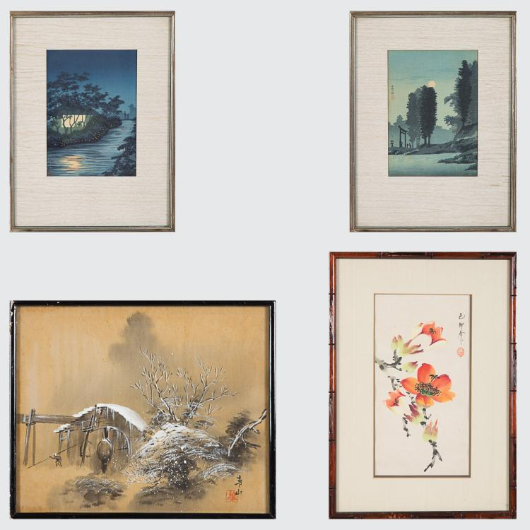 A Group of Four Japanese Framed Woodcuts and Paintings, 19th/20th Century.