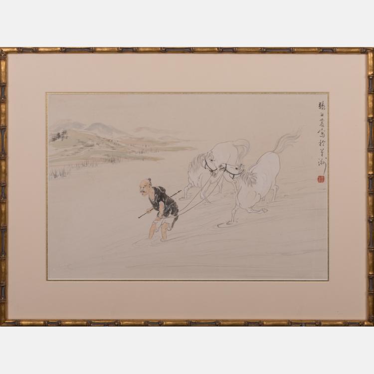 Professor Chang Tan Nung (20th Century) Crossing Streamlet, Watercolor,