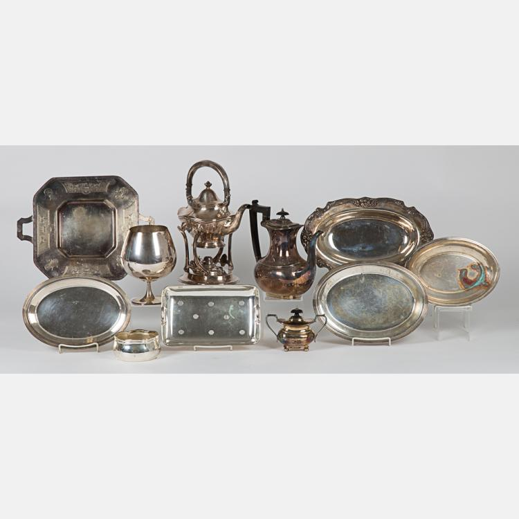 A Miscellaneous Collection of Silver Plated Serving Items, 20th Century.
