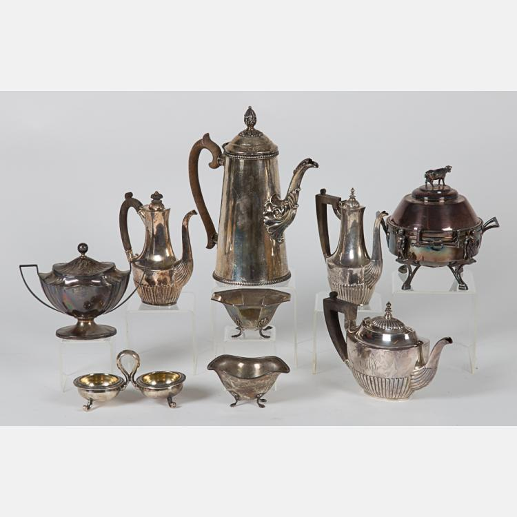 A Miscellaneous Collection of Sterling Silver and Silver Plated Serving Items, 20th Century.