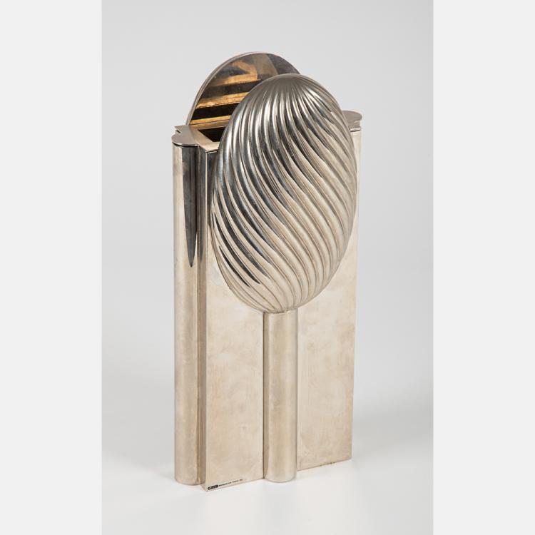 A Montagnani Sas Firenze Silvered Brass Vase, 20th Century.