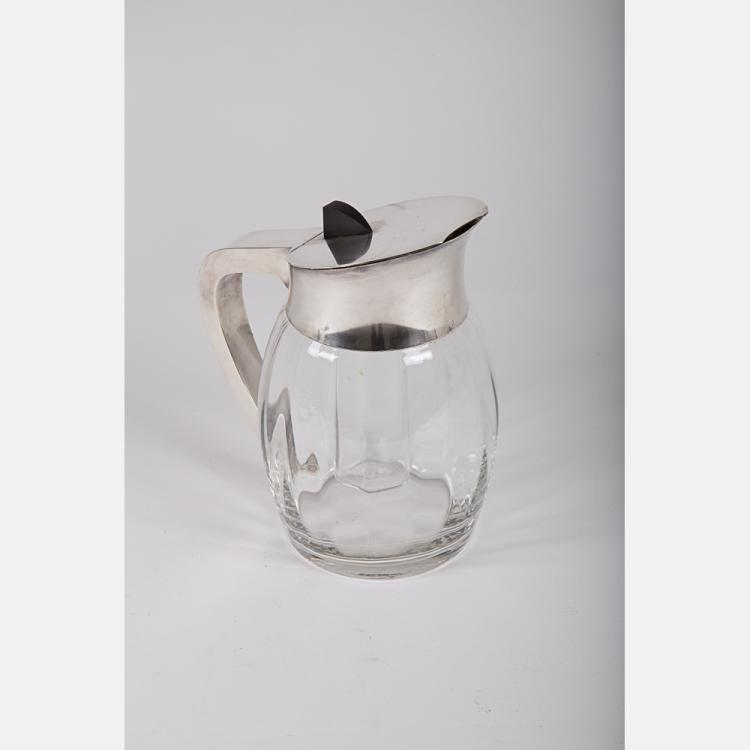 A Continental Silver Plated and Glass Pims/Lemonade Pitcher with Ice Cylinder, 20th Century.