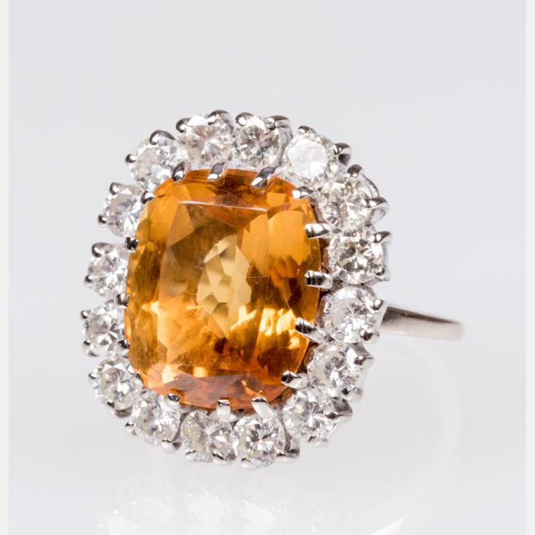 A 14kt. White Gold, Citrine and Diamond Ring,