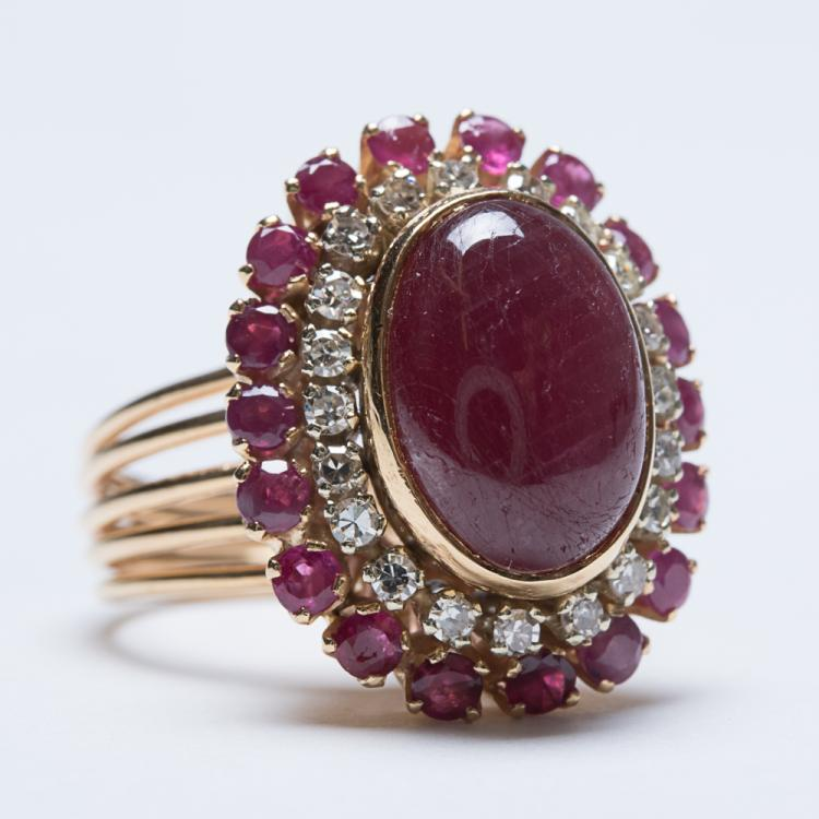 An 18kt. Yellow Gold, Ruby and Diamond Ring,