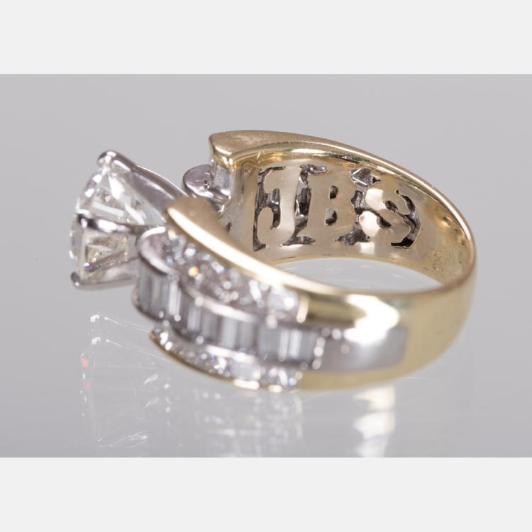 an 18kt yellow gold and platinum ring