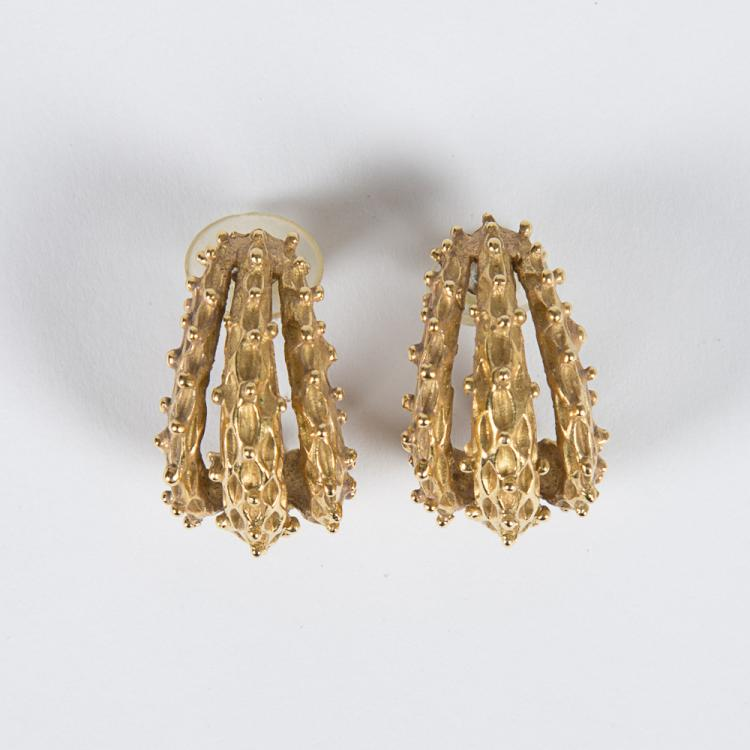 A Pair of 18kt. Yellow Gold Earrings.
