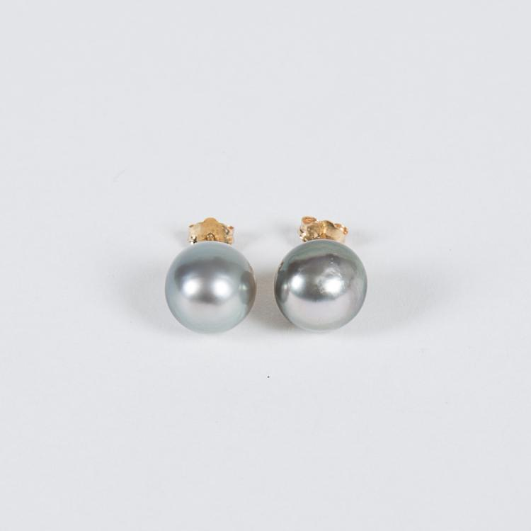 A Pair of Semi-Baroque Cultured Tahitian Pearl Earrings,