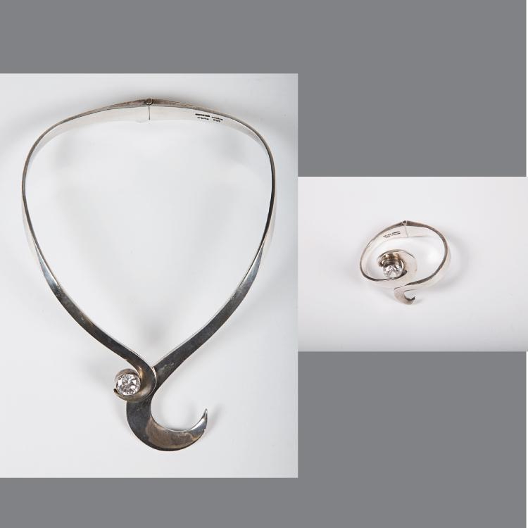 A Contemporary Mexican Sterling Silver and Crystal Necklace and Bracelet,