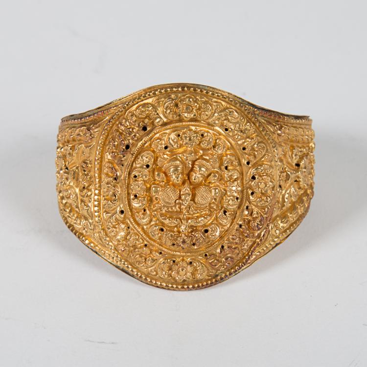 A Nepalese Newari Gold Repousse Cuff Bracelet, 19th Century,