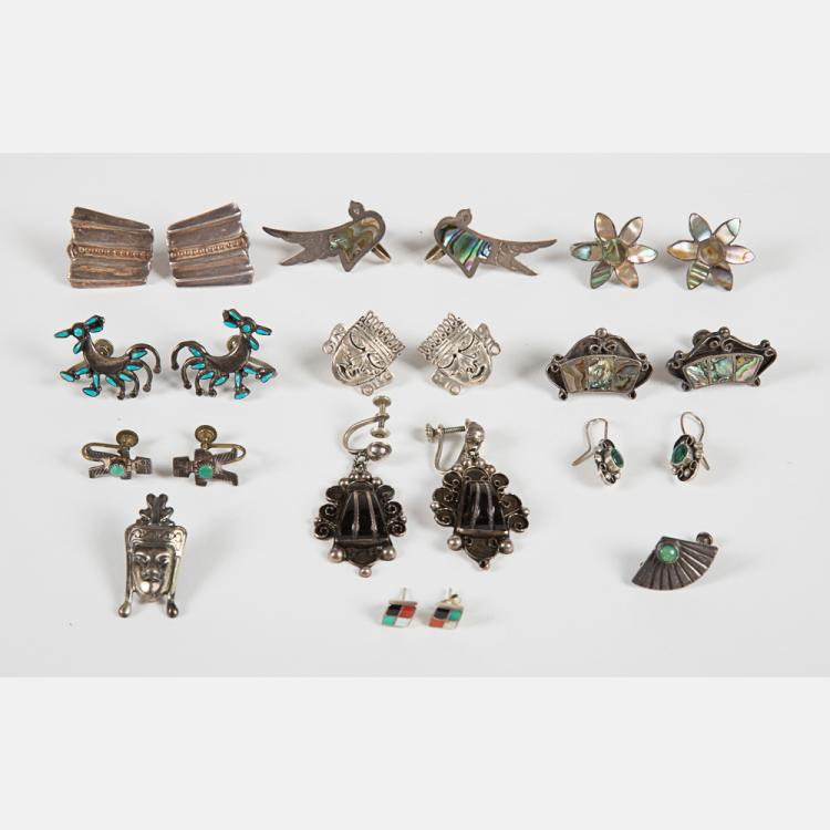 A Collection of Ten Pairs of Mexican Silver and Sterling Silver Earrings,
