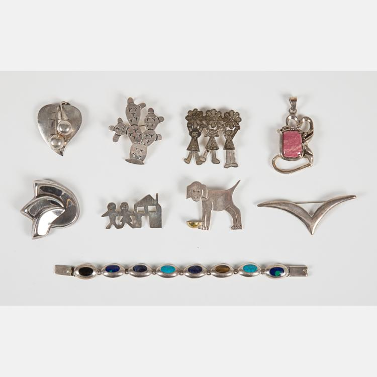A Collection of Contemporary Mexican Sterling Silver Jewelry,