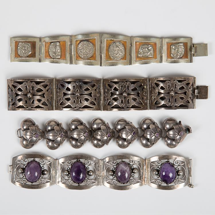 A Group of Four Mexican Sterling Silver Bracelets,