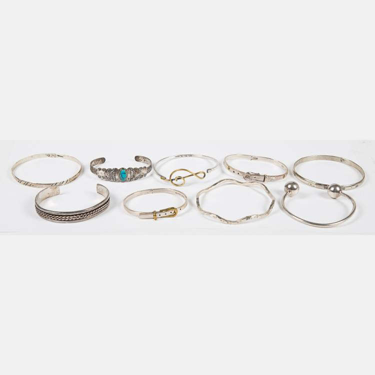 A Group of Nine Mexican Sterling Silver and Silver Bracelets.