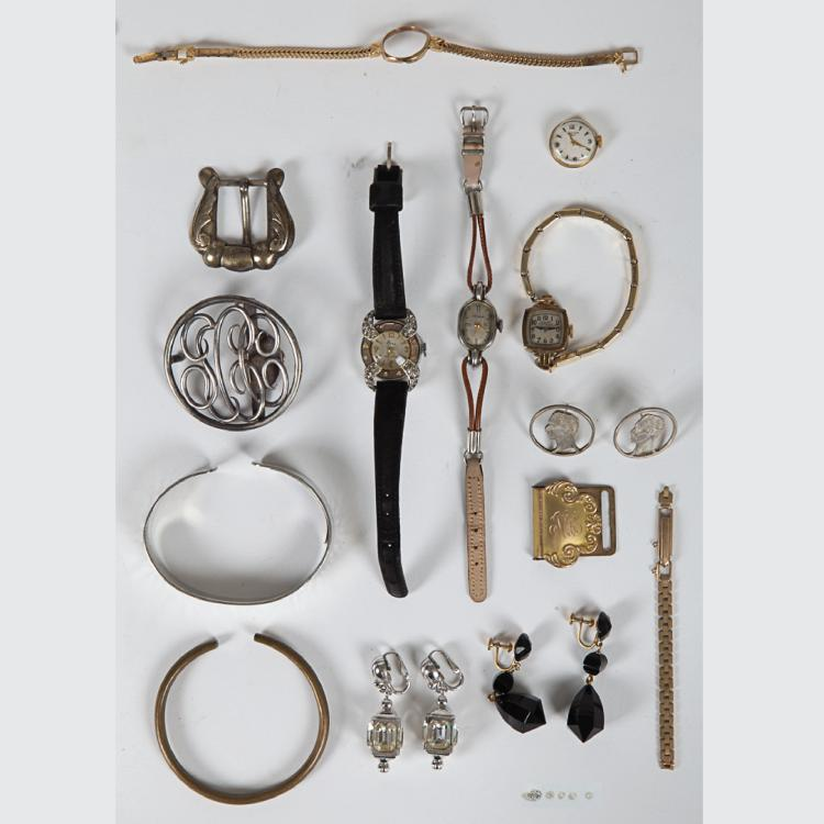 A Miscellaneous Collection of 14kt. Yellow Gold and Low Karat Jewelry Fragments and Watches,