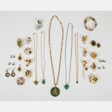 A Miscellaneous Collection of Jade Costume Jewelry,