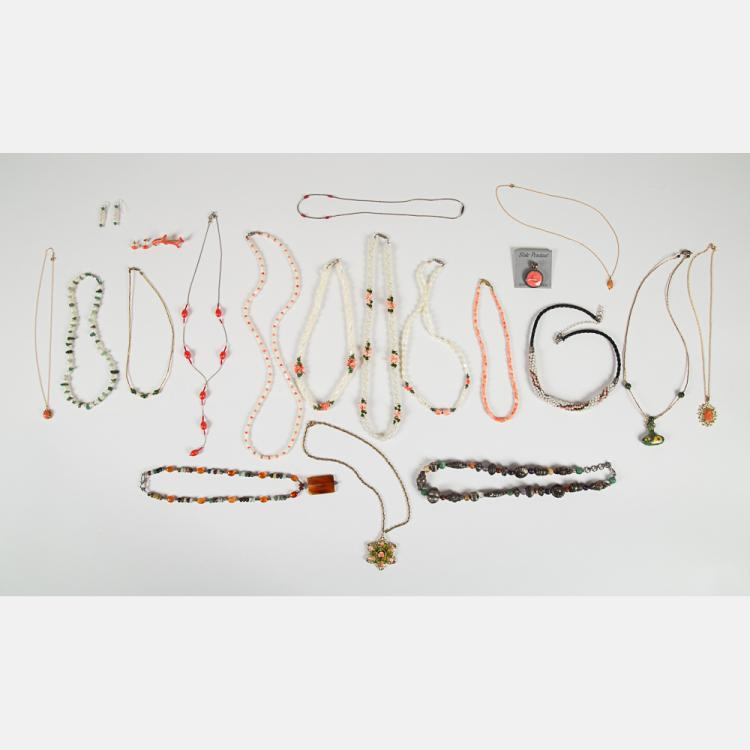 A Miscellaneous Collection of Coral, Pearl, Colored Stone, Silver, Gold Plated and Beaded Jewelry.