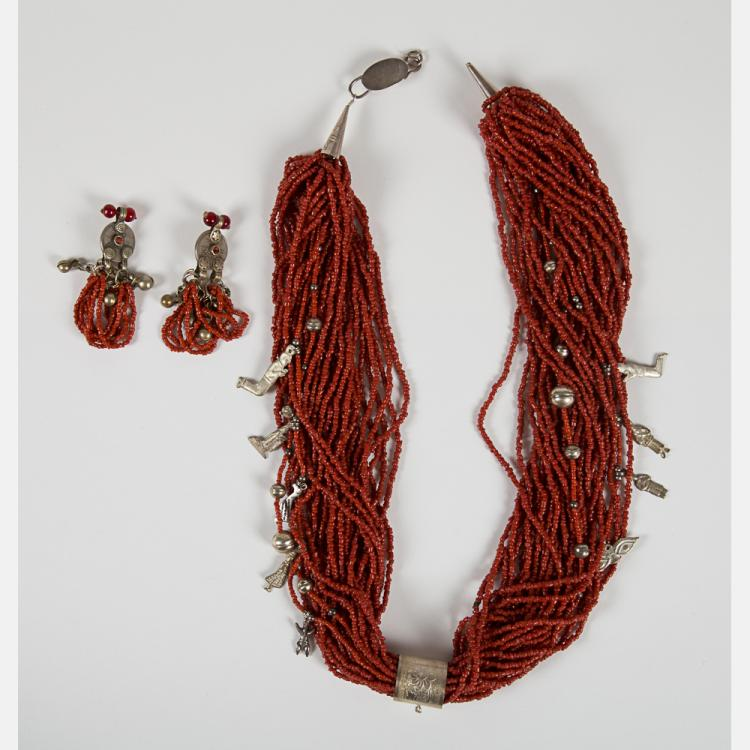 A Chinese Coral and Silver Plated Necklace,